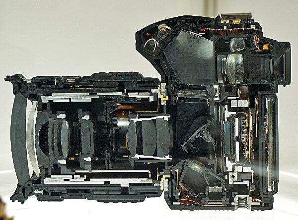 Interior de una cámara réflex