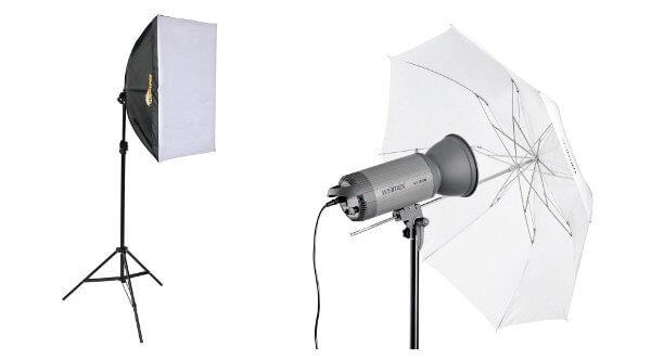 Caja de luz (softbox) y paraguas difusor