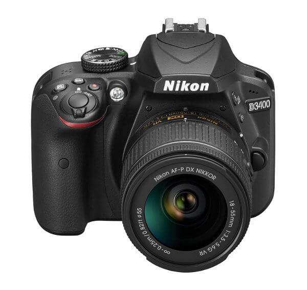 Cámara réflex Nikon D3400 - Frontal con objetivo