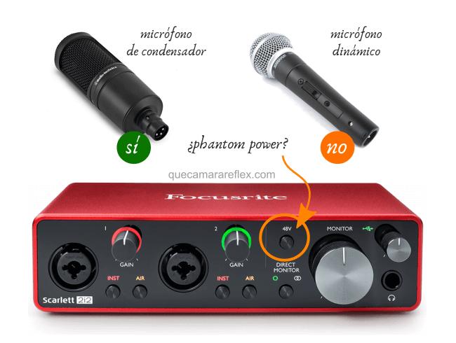 Activar phantom power en interfaz de sonido